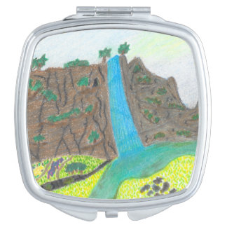 Sunny Falls Cliff and Meadow Scenic Mirror Vanity Mirror