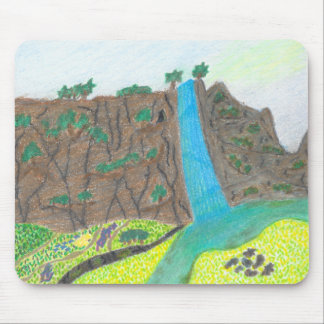 Sunny Falls Cliff and Meadow Scenic Mousepad