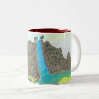 Sunny Falls Cliff and Meadow Scenic Mug