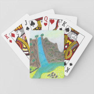 Sunny Falls Cliff and Meadow Scenic Playing Cards