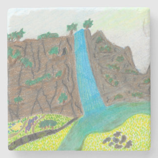 Sunny Falls Cliff and Meadow Square Stone Coaster