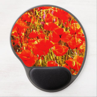 Sunny Field of Red Poppies Wildflowers Art Design Gel Mouse Pad