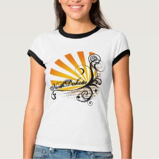 Sunny Floral Graphic North Dakota T-Shirt Ringer