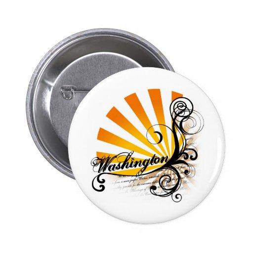 Sunny Floral Graphic Washington Button