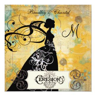 Sunny Floral  Silhouette Bride Invitation