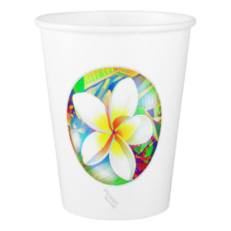 Sunny frangipani medallion paper cup