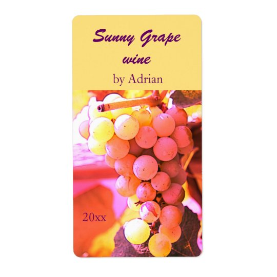 Sunny grapes wine bottle label shipping label