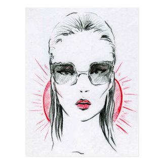 Sunny holiday fashion girl illustration postcard