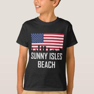 Sunny Isles Beach Florida Skyline American Flag T-Shirt