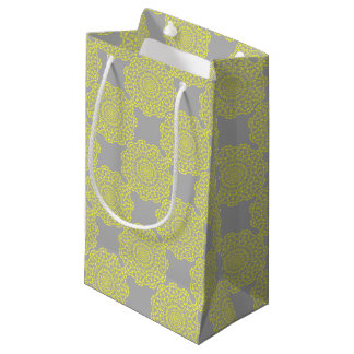 Sunny Lemon Grey Elegant Lacy Circle Pattern Small Gift Bag