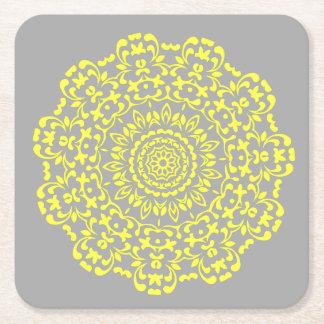 Sunny Lemon Grey Elegant Lacy Circle Pattern Square Paper Coaster
