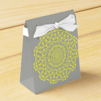 Sunny Lemon Grey Elegant Lacy Perxonalized Wedding Favour Box