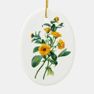 Sunny Marigolds Drawn From Nature Ceramic Oval Decoration