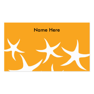 Sunny Orange and White Starfish Pattern. Pack Of Standard Business Cards