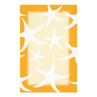 Sunny Orange and White Starfish Pattern. Customized Stationery