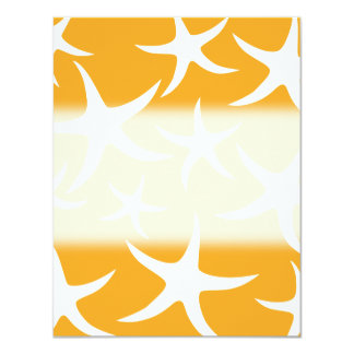Sunny Orange and White Starfish Pattern. Personalized Announcement