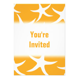 Sunny Orange and White Starfish Pattern. Personalized Announcements
