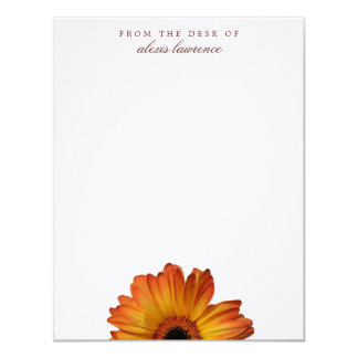 Sunny Orange gerbera flower from the desk of note 11 Cm X 14 Cm Invitation Card