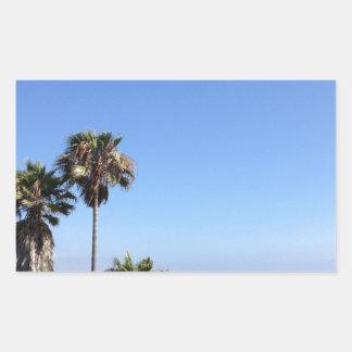 sunny palm trees rectangular sticker