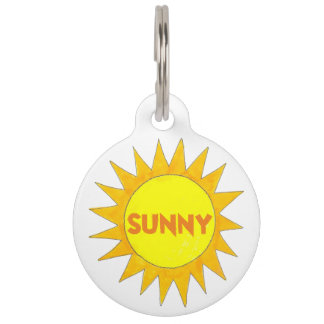 Sunny Personalized Yellow Summer Sun Sunshine Pet Name Tag