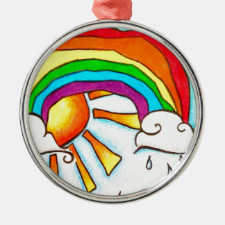 Sunny pop Rainbow! Silver-Colored Round Decoration