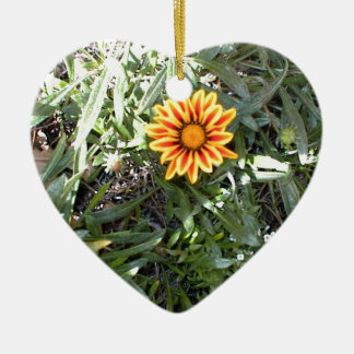 Sunny Red and Yellow Blossom Ceramic Heart Decoration