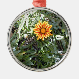 Sunny Red and Yellow Blossom Silver-Colored Round Decoration