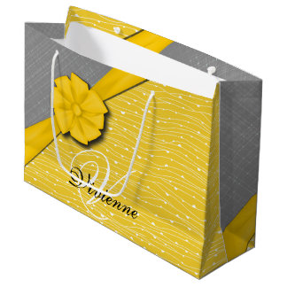 Sunny Ribbon, Two Tone Yellow Waves Grey Fabric Large Gift Bag