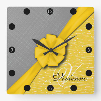 Sunny Ribbon, Two Tone Yellow Waves Grey Fabric Square Wall Clock