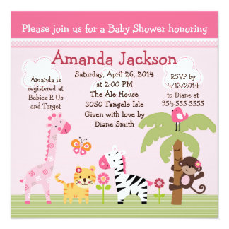Sunny Safari/Girl Animals Baby Shower Invitation