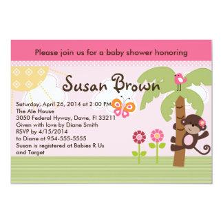 Sunny Safari Girl Monkey Baby Shower Invitation