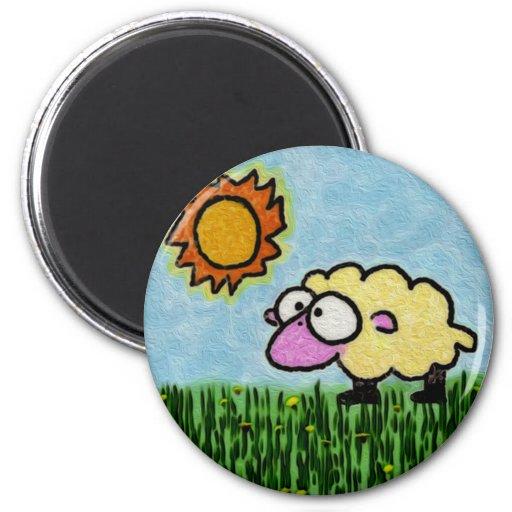 Sunny Sheep Refrigerator Magnet