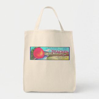 SUNNY SLOPE PEACHES GROCERY TOTE BAG