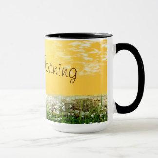 Sunny spring with good morning text. mug