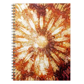 Sunny Star Flower Warm Brown Orange Colors Notebook