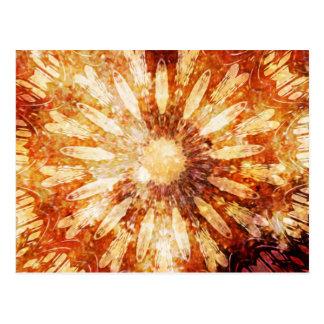 Sunny Star Flower Warm Brown Orange Colors Postcard