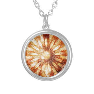 Sunny Star Flower Warm Brown Orange Colors Silver Plated Necklace