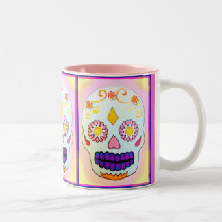 SUNNY SUGAR SKULL IN BRIGHTS Two-Tone COFFEE MUG