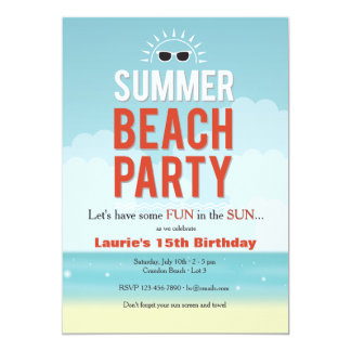 Sunny Summer Beach Party Invitation