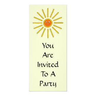 Sunny Summer Sun. Yellow on Cream. 10 Cm X 24 Cm Invitation Card