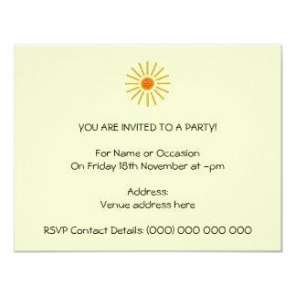 Sunny Summer Sun. Yellow on Cream. 11 Cm X 14 Cm Invitation Card