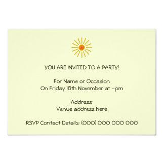 Sunny Summer Sun. Yellow on Cream. 13 Cm X 18 Cm Invitation Card