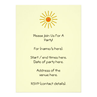 Sunny Summer Sun. Yellow on Cream. Personalized Announcement