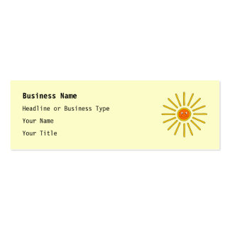 Sunny Summer Sun. Yellow on Cream. Pack Of Skinny Business Cards