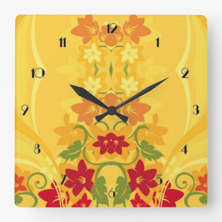 Sunny Summer Yellow Floral Wall Clock