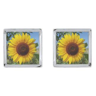 Sunny Sunflower Silver Finish Cufflinks