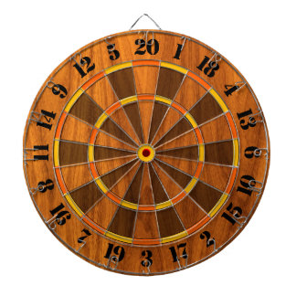 Sunny Teak Veneer Print for a Game of Darts Dartboard