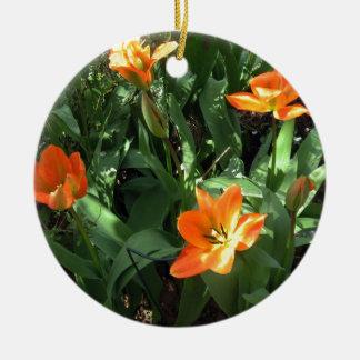 Sunny Tulips Round Ceramic Decoration