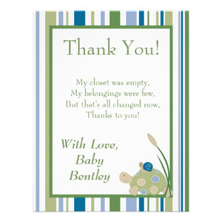 Sunny Turtle 4x5 Flat Thank You Card