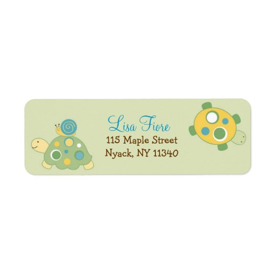 Sunny Turtle Baby Shower Address Labels
